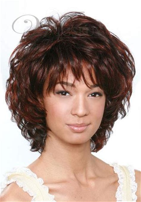 curly hair soft wedge layered with bangs short curly dark brown mixed color layered hairstyle with