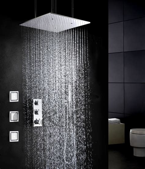 20 Inch Shower by Thermostatic Atomizing And Rainfall Shower Faucet Set 20