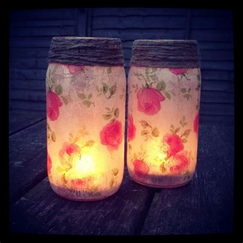 Decoupage Candle Jars - from dolmio to vintage decoupaged jars with napkins with