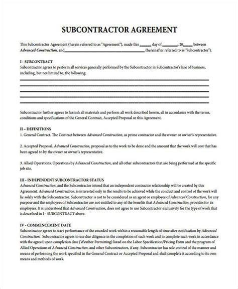 basic agreement form sle subcontractor contract forms 7 free documents in