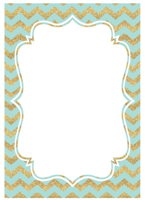 mint  gold party invitations  printable paper