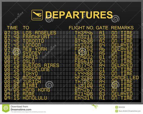 Tableau Intl international airport departures board stock illustration