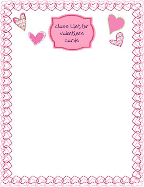 valentin day list in room 4b s day class list freebie