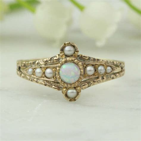 antique opal and pearl ring c 1870 1890 14k
