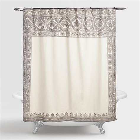 ivory shower curtains ivory and gray arch agra shower curtain world market