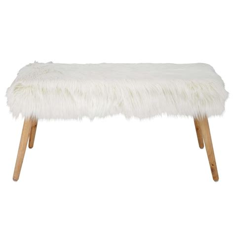 faux fur bench uk pin up white faux fur bench maisons du monde