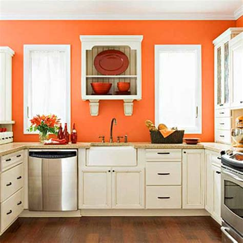 blue and orange kitchen