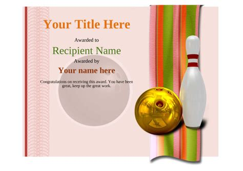 Bowling Certificate Template by Free Ten Pin Bowling Certificate Templates Inc Printable