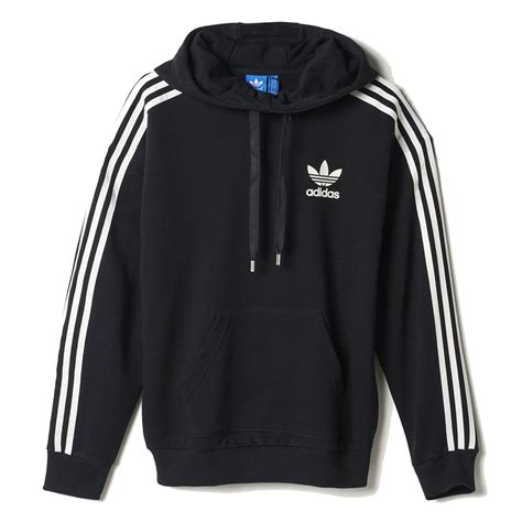 Jaket Running Hoodi Zipper adidas s 3 stripes hoodie black white ab2013 wooki