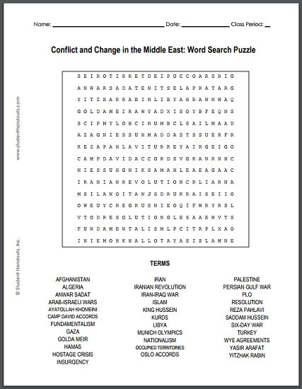 Conflict And Change In The Middle East Word Search