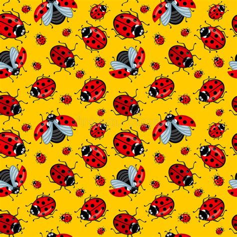 seamless pattern corel corel seamless pattern cartoon ladybugs red on a yellow