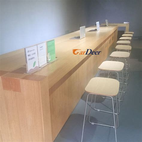 apple store help desk shenzhen customized ash tree wood grain wood cashier desk