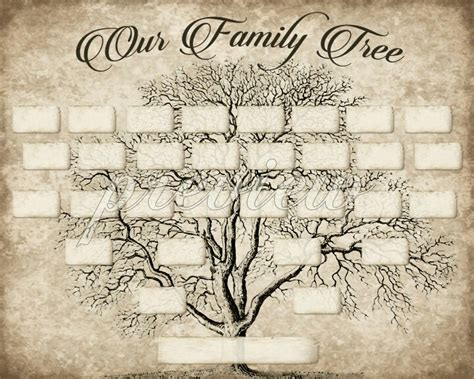 printable family tree art diy printable family tree pdf template 8x10 type in your
