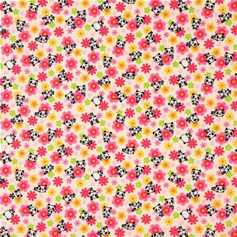 Sprei Single Motif Panda pale yellow colorful flower panda fabric animal fabric fabric kawaii shop modes4u