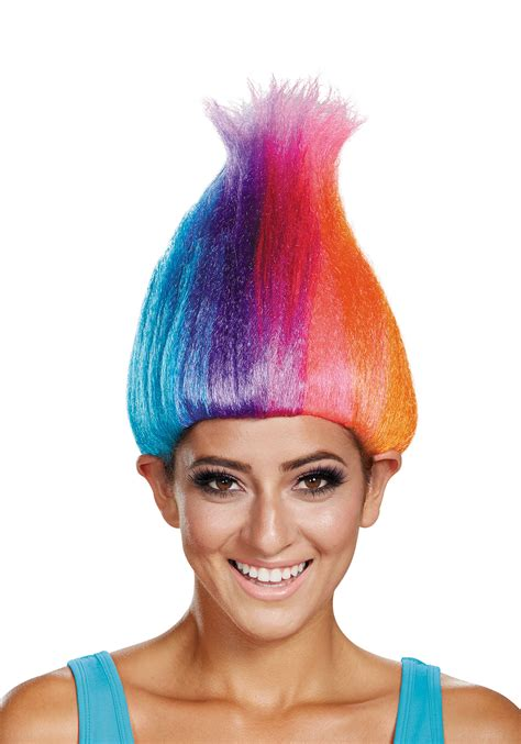 colored wigs rainbow colored troll wig for adults