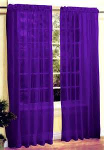 Purple Sheer Curtains New 2 Pc Sheer Voile Window Curtain Panel Set Purple Ebay
