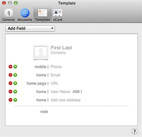 change default fields in mac contacts address book ask