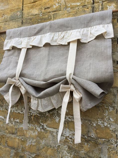 Linen Curtains Ruffled Country Kitchen Tie Up Valance