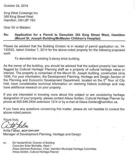 Permission Letter Demo Demolition Permit For Mount St Joseph Issued During Council Recess Raise The Hammer