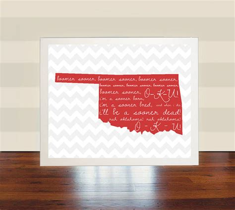 home decor okc items similar to oklahoma university ou wall art print