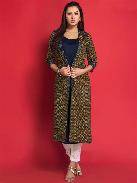 Jacket Style cotton printed jacket style kurti with rayon inner