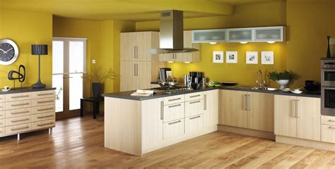modern kitchen decorating ideas with white kitchen cabinet and yellow wall paint color lestnic