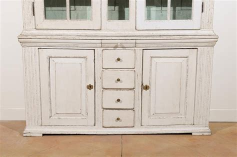 Broken Kitchen Cabinet Door Swedish 1770s Painted Cabinet With Broken Pediment Glass Doors And Drawers For Sale At 1stdibs