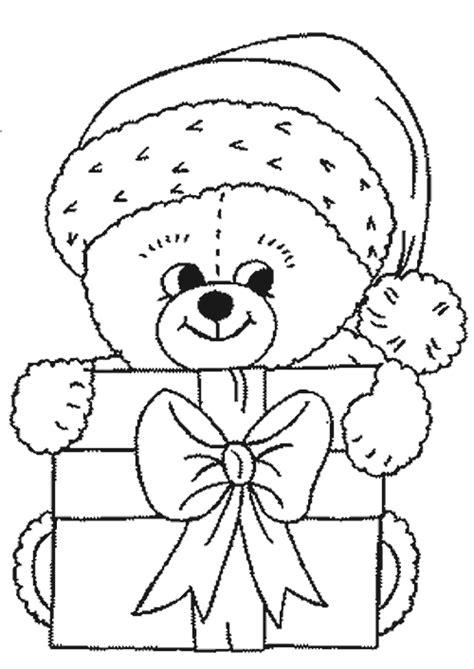 osito de peluche con regalo dibujos de navidad im 225 genes para colorear de navidad