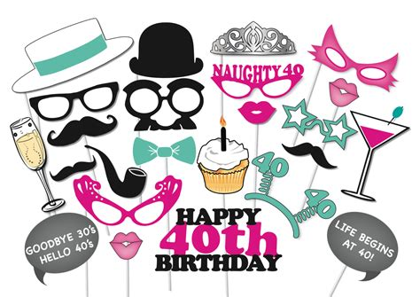free printable photo booth props 40th birthday 40th birthday photobooth party props set 26 piece printable