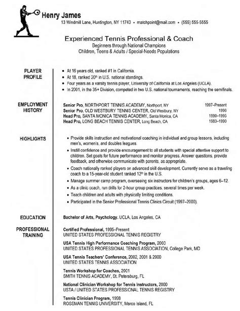 professional coach resume sle