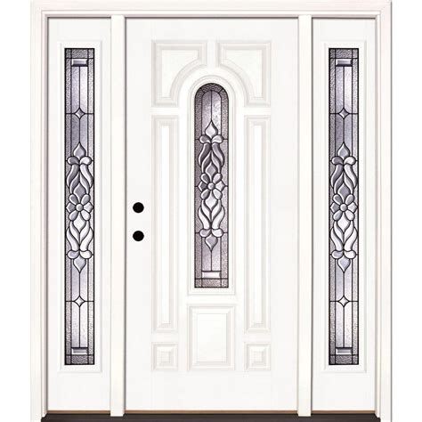Front Entry Doors Fiberglass Feather River Doors 59 5 In X81 625in Lakewood Patina Center Arch Lt Unfinished Smooth Right