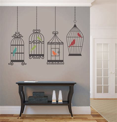 birdcage room decor items similar to 4 birds cages decals removable wall 5 colors vinyl dinning living room