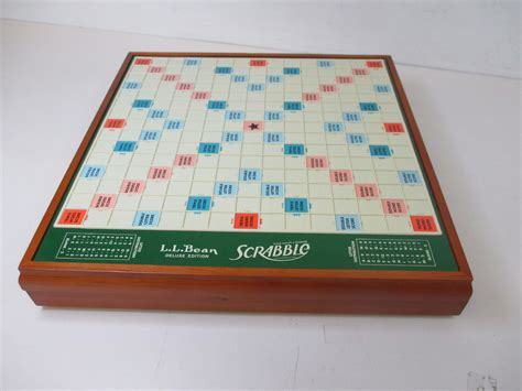 rotating scrabble ll bean deluxe edition wooden rotating scrabble board