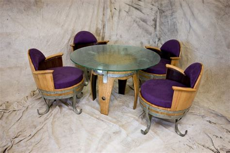 reclaimed wine barrel table 4 chairs set eclectic