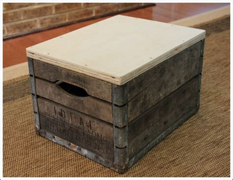 How To Make A Ottoman How To Make An Ottoman Using A Vintage Milk Crate