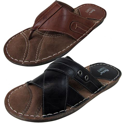 mens leather smart bata sandals mule casual quality sandal