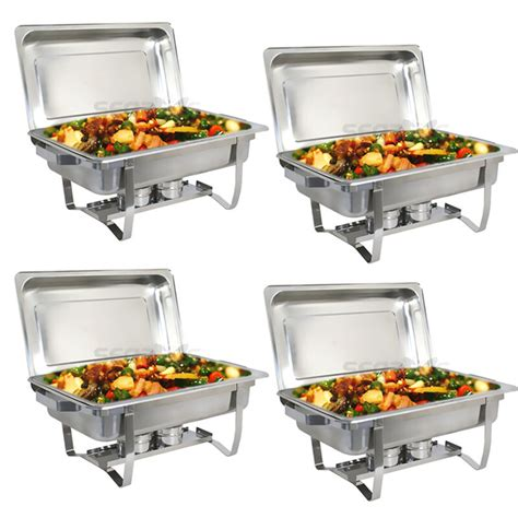 4 pack chafing dish sets buffet catering stainless steel
