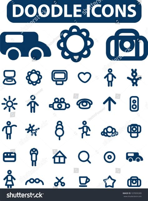doodle icons free vectors doodle simple icons set vector 107839289