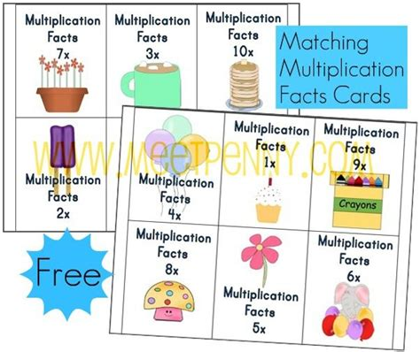 printable cue cards free multiplication worksheets fact cards with visual