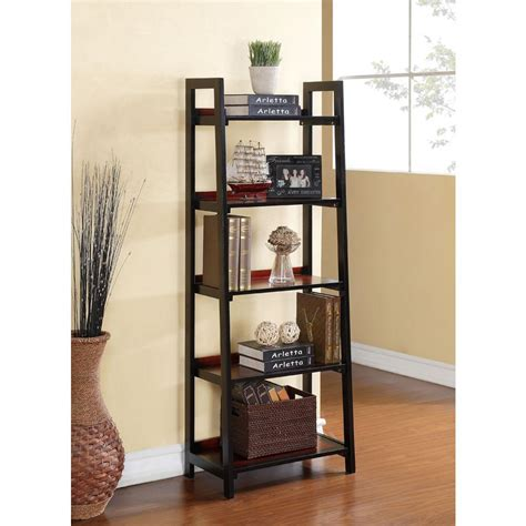 cherry home decor linon home decor camden black cherry ladder bookcase 64019blkchy01kdu the home depot