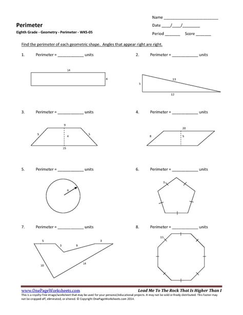 8th Grade Worksheets Pdf by Eighth Grade Perimeter Worksheet 05 One Page Worksheets
