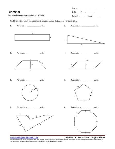 Pdf Geometry Worksheets by Eighth Grade Perimeter Worksheet 05 One Page Worksheets