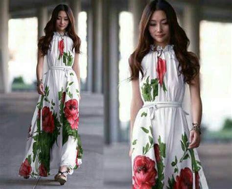 dress terbaru lengan buntung warna putih motif bunga