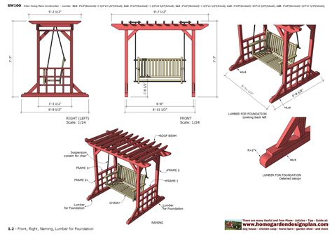 swing plan home garden plans furniture plans arbor swing plans