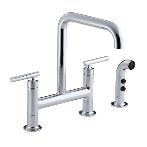 kohler purist kitchen faucet kohler purist 12 in 2 handle deck mount high arc bridge kitchen faucet with side sprayer in