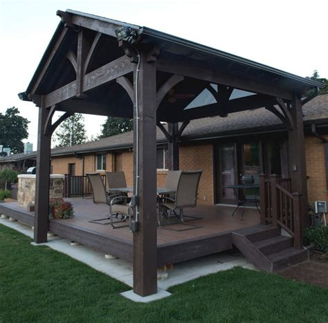 backyard deck kits 2 alpine timber frame pavilions with inferno outdoor power
