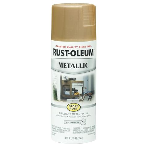 rust oleum stops rust 11 oz vintage metallic warm gold protective enamel spray paint 6 pack