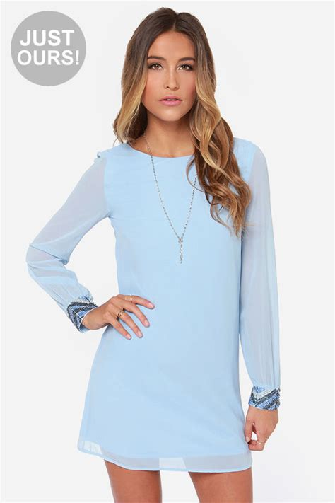 Light Blue Shift Dress by Light Blue Dress Beaded Dress Sleeve Dress