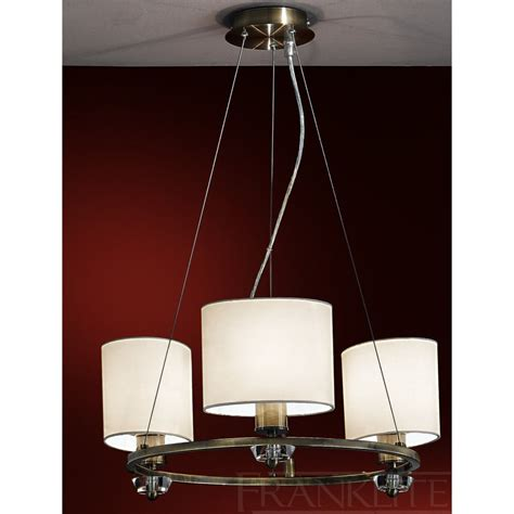 Fabric Pendant Lights Piazza Fl2182el 3 Pendant Ceiling 3 Light Bronze Fabric Shade