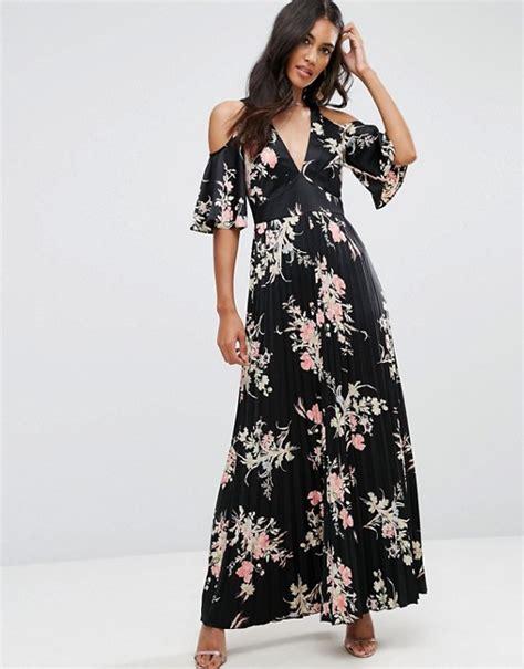 Cold Shoulder Maxi Dress asos asos cold shoulder maxi dress in satin floral print